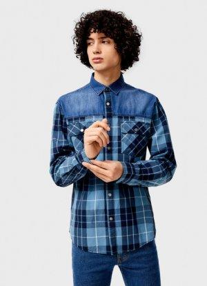 Рубашка в клетку с джинсовой спинкой и кокеткой O`Stin. Цвет: морской