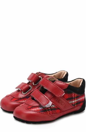 Кожаные пинетки с застежками велькро и текстильной отделкой Tod's. Цвет: красный