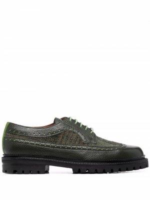 Туфли со вставкой в клетку тартан ETRO. Цвет: зеленый
