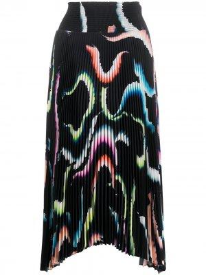 Плиссированная юбка с абстрактным принтом A.L.C.. Цвет: синий