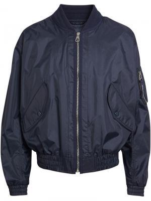 Легкая непромокаемая куртка-бомбер Burberry. Цвет: синий