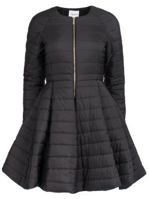 Утепленная куртка с баской Anna Rita. Цвет: черный