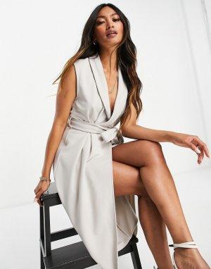 Светло-бежевое платье миди на запахе с воротником -Светло-бежевый цвет ASOS DESIGN