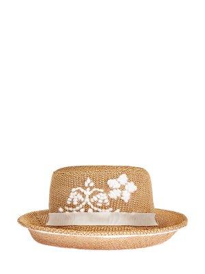 Плетеная шляпа-трилби с вышивкой ручной работы ERMANNO SCERVINO. Цвет: бежевый