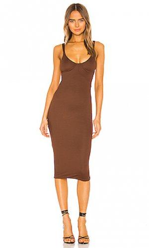 Платье миди tayshia NBD. Цвет: шоколадный