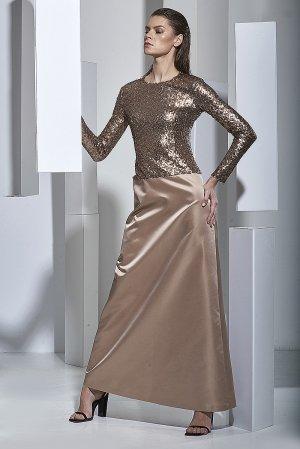 Вечернее платье из атласа с пайетками VASSA&Co. Цвет: бежевый