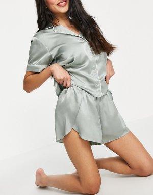 Зеленые атласные шорты для сна (от комплекта) -Зеленый Abercrombie & Fitch