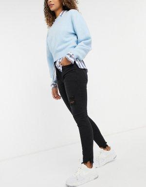 Черные рваные джинсы скинни с завышенной талией -Голубой American Eagle
