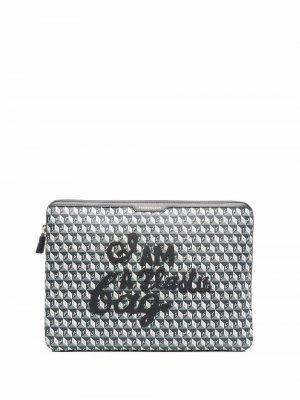 Клатч для ноутбука I Am A Plastic Bag с монограммой Anya Hindmarch. Цвет: серый