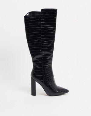 Черные ботфорты с крокодиловым принтом -Черный Glamorous