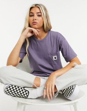 Фиолетовая футболка с короткими рукавами и карманом -Фиолетовый Carhartt WIP