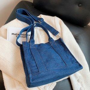 Джинсовая минималистичная большая сумка через плечо SHEIN. Цвет: синий