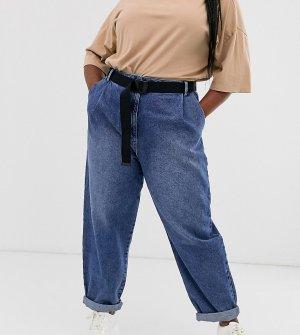 Зауженные джинсы бойфренда с ремнем ASOS DESIGN Curve-Синий Curve