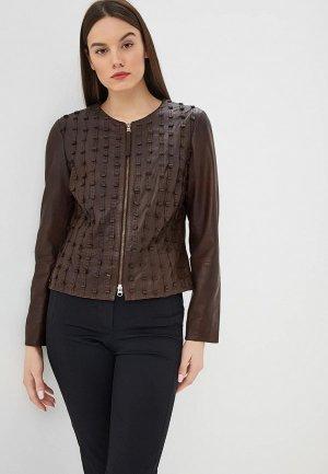 Куртка кожаная Madeleine. Цвет: коричневый