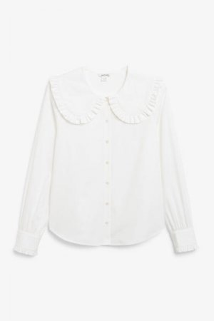 Блузка с большим воротником Monki. Цвет: белый