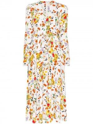 Платье макси с завязками и цветочным принтом byTiMo. Цвет: белый