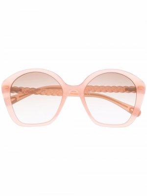 Массивные солнцезащитные очки Chloé Kids. Цвет: оранжевый