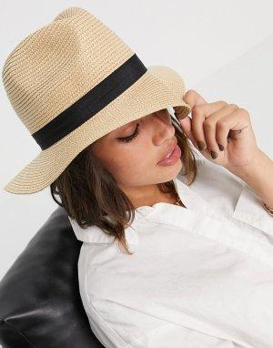 Солнцезащитная шляпа натурального цвета с черной лентой -Многоцветный French Connection