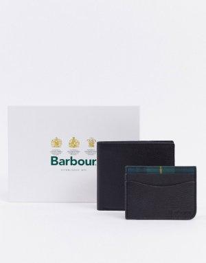 Подарочный набор из кожаного кошелька и визитницы черного цвета с отделкой в клетку тартан-Черный Barbour