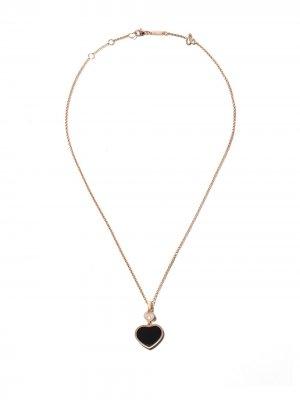 Колье Happy Hearts с кулоном ониксом и бриллиантом Chopard. Цвет: розовый