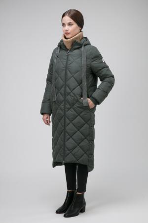 Демисезонное пальто с капюшоном на большой размер ODRI Mio. Цвет: зеленый