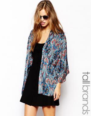 Кимоно с принтом пейсли Glamorous Tall. Цвет: blue paisley print