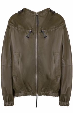 Кожаная куртка свободного кроя Marni. Цвет: хаки