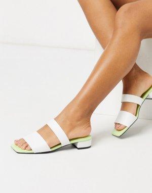 Белые сандалии из искусственной кожи с квадратными носом и двумя ремешками -Белый Monki