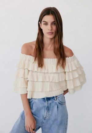 Блуза Mango - CELIA. Цвет: бежевый