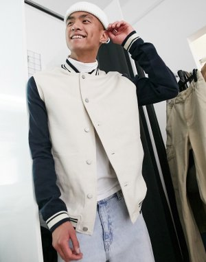 Джинсовая куртка в стиле милитари -Синий ASOS DESIGN