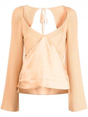 Пуловер Arlette с V-образным вырезом Jonathan Simkhai. Цвет: оранжевый