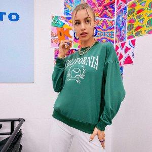Пуловер с текстовым и графическим принтом SHEIN. Цвет: зелёный