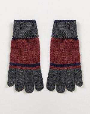 Перчатки в стиле колор-блок -Красный Boardmans