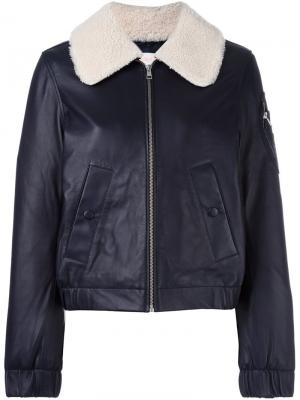 Куртка-пилот с меховым воротником See By Chloé. Цвет: синий