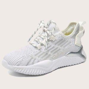 Для мальчиков Беговая обувь со шнурком SHEIN. Цвет: белый
