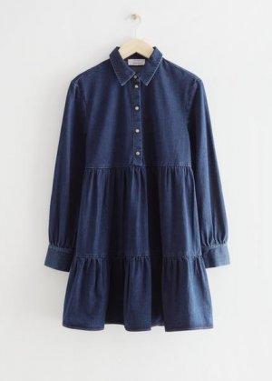Многоярусное джинсовое мини-платье &Other Stories. Цвет: синий