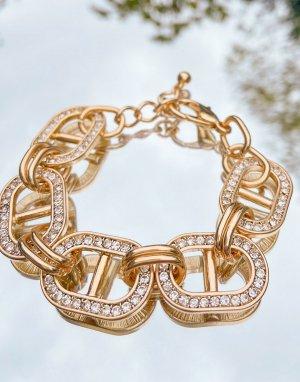 Золотистый браслет со звеньями-петлями, украшенными кристаллами ASOS DESIGN