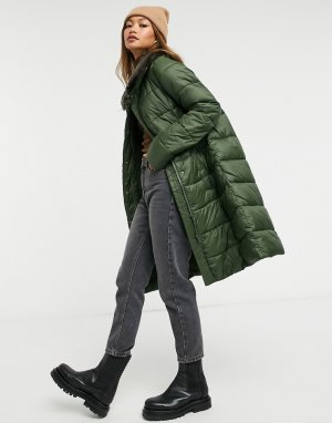 Длинная утепленная куртка зеленого цвета с воротником из искусственного меха Teasel-Зеленый Barbour