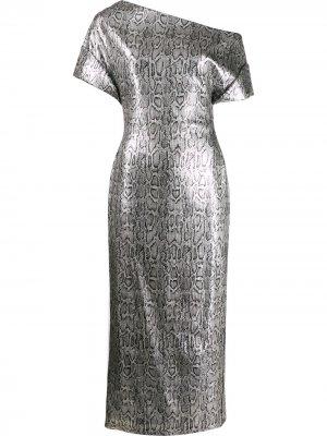 Платье со змеиным принтом и пайетками Christopher Kane. Цвет: серебристый