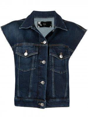 Джинсовая куртка без рукавов 3x1. Цвет: синий