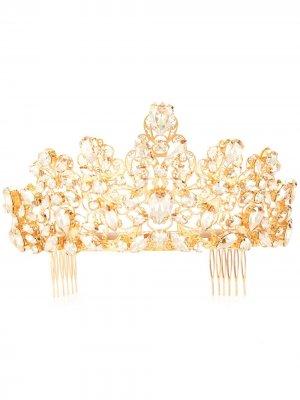 Гребень для волос в форме короны Dolce & Gabbana. Цвет: золотистый