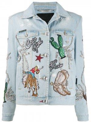 Джинсовая куртка Cowboy Philipp Plein. Цвет: синий