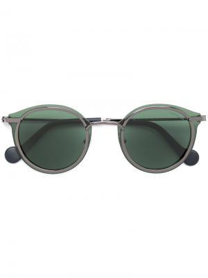 Солнцезащитные очки с круглой оправой Moncler Eyewear. Цвет: чёрный