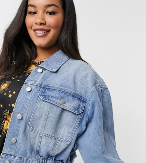 Голубая выбеленная джинсовая куртка с эластичным поясом -Синий Urban Bliss Plus