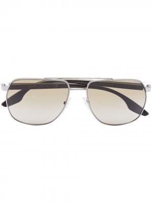 Солнцезащитные очки-авиаторы Prada Eyewear. Цвет: серый