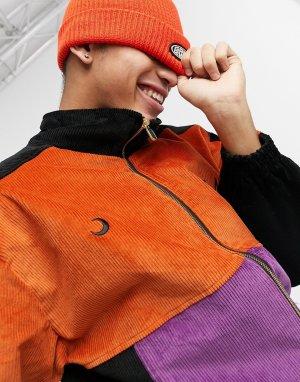 Оранжево-фиолетовая вельветовая спортивная куртка -Оранжевый цвет Grimey