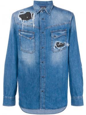 Джинсовая куртка со вставками с заклепками Just Cavalli. Цвет: синий