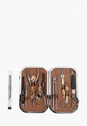 Набор маникюрный Zinger профессиональный из 11 предметов. Цвет: коричневый