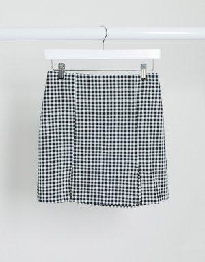 Мини-юбка в черно-белую клетку -Мульти Monki