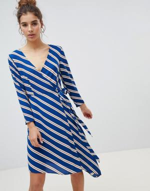 Асимметричное платье миди в полоску с запахом New Look